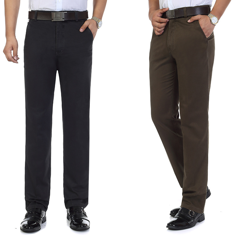 Autumn & Winter Middle-aged MEN'S Trousers Casual Pants Men's Daddy Clothes Trousers High-waisted Straight-leg Pants Men's Autum