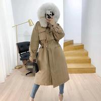 2019 Women Windproof Duck Down Warm Winter Coat Real Fox Fur Collar Long Hooded Jacket Female Zippers Thick Parkas