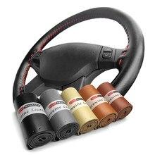 Cobertura para volante trançado, couro bovino genuíno, volante do carro, envoltório com rosca da agulha 15 polegadas 38cm