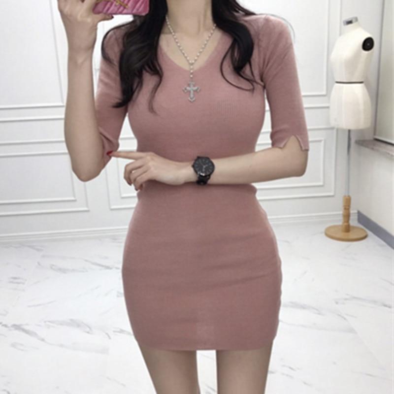 Korean Women Sexy Slim Dresses Womens Fashion V Neck Dresses Vestidoes 1