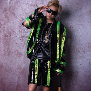 Boate masculino cantor passarela wear fita de couro patente jazz dança roupas de hip-hop trajes de rua dos homens tambor roupas dwy3488