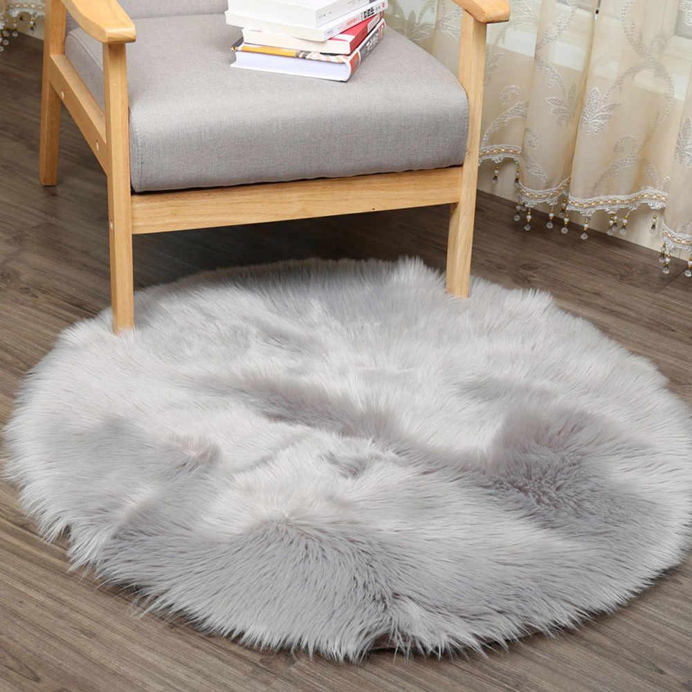 Tapis Ouneed tapis de sol en peau de mouton artificiel doux rond pour salon chambre à coucher violet tapis siège Pad livraison directe &