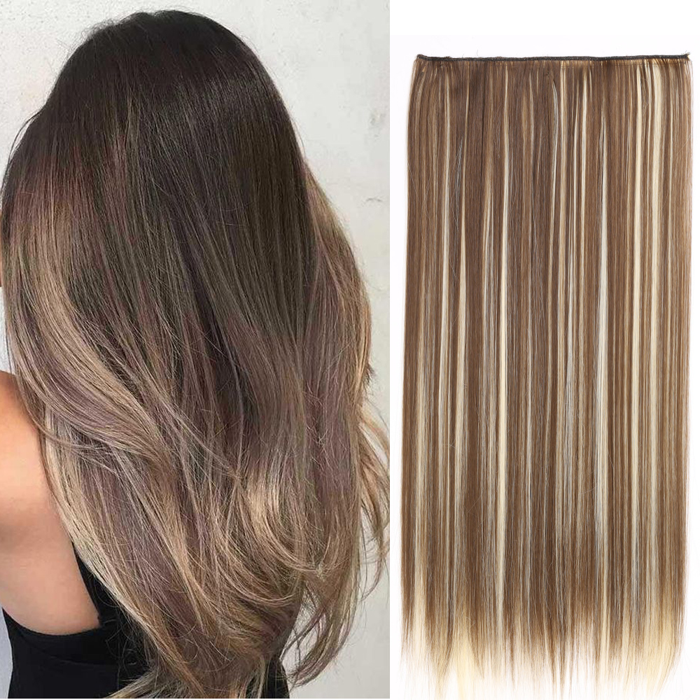 24inch Long Straight Women 5 Clip in Hair Extensions Mixed Color High Tempreture Synthetic Hair Piece 1pcs/set