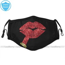 Red Lips Mouth Face Mask Red Kiss Lipstick On Pouty Lips Fashion Art Facial Mask Cool Kawai with 2 Filters for Adult
