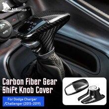 Velocidade do ar de fibra carbono para dodge challenger carregador 2015 2016 2017 2018 2019 acessórios interior guarnição do carro botão do deslocamento de engrenagem capa