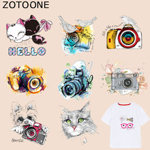 ZOTOONE Cute Cartoon Cat Patches Camera Stickers Iron on Transfers for Clothes T-shirt Heat Transfer Accessory Appliques F1
