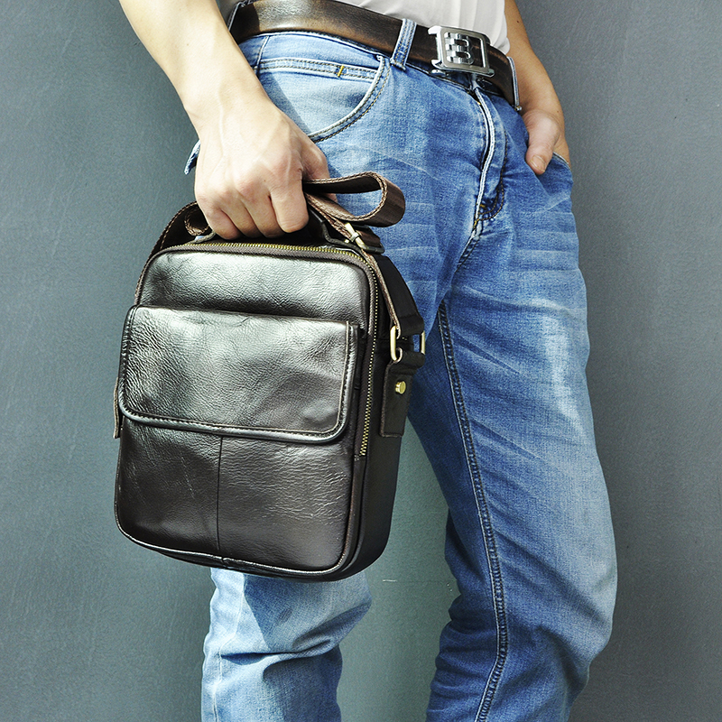Genuine Leather Male Design Casual Messenger Crossbody Shoulder Bag Fashion Male 9.8