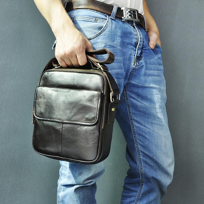 Genuine Leather Male Design Casual Messenger Crossbody Shoulder Bag Fashion Male 9.8