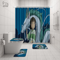 NYAA 4 Pcs  Japanese Animation Dragon Shower Curtain Pedestal Rug Lid Toilet Cover Mat Bath Mat Set For Bathroom Decor