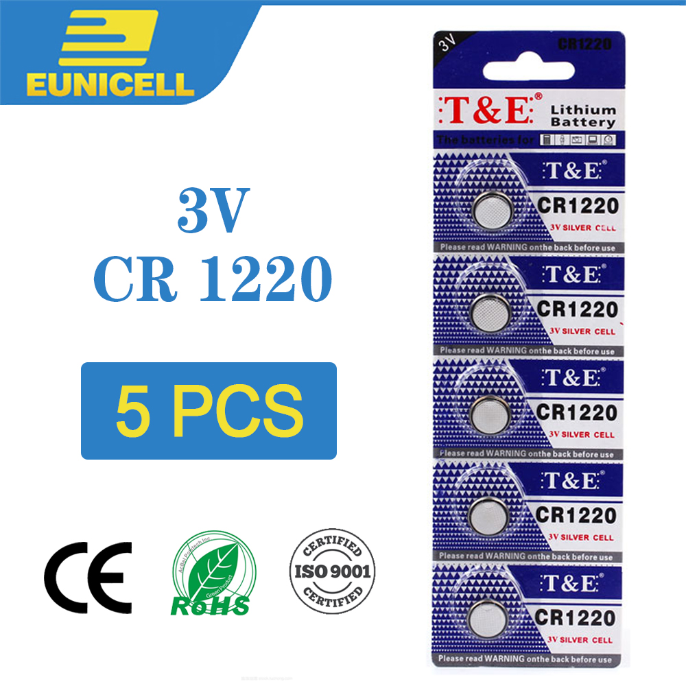 5pcs Lithium Cell Coin Battery 3V CR1220 CR 1220 Button Batteries DL1220 BR1220 LM1220 For Watch Toy Remote Control Car Key