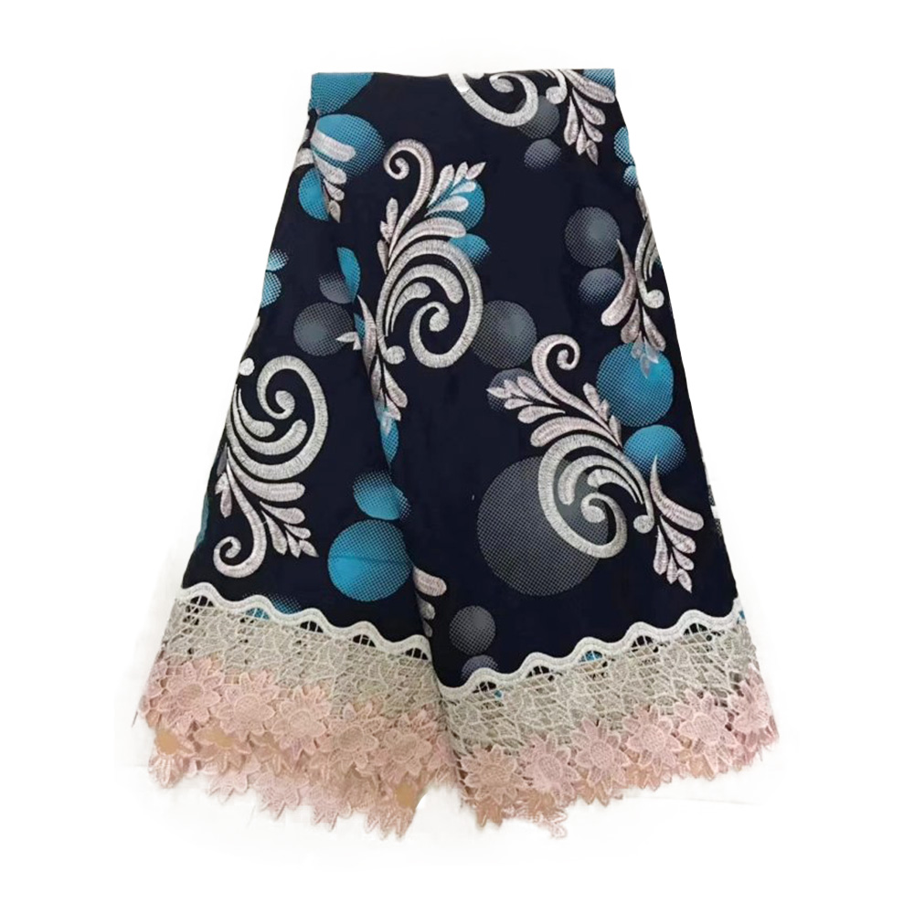 Black African Ankara Lace Wax Fabric 2019 High Quality Cotton Wax With Cord Lace Pange Cloth Real Netherlands Block Prints