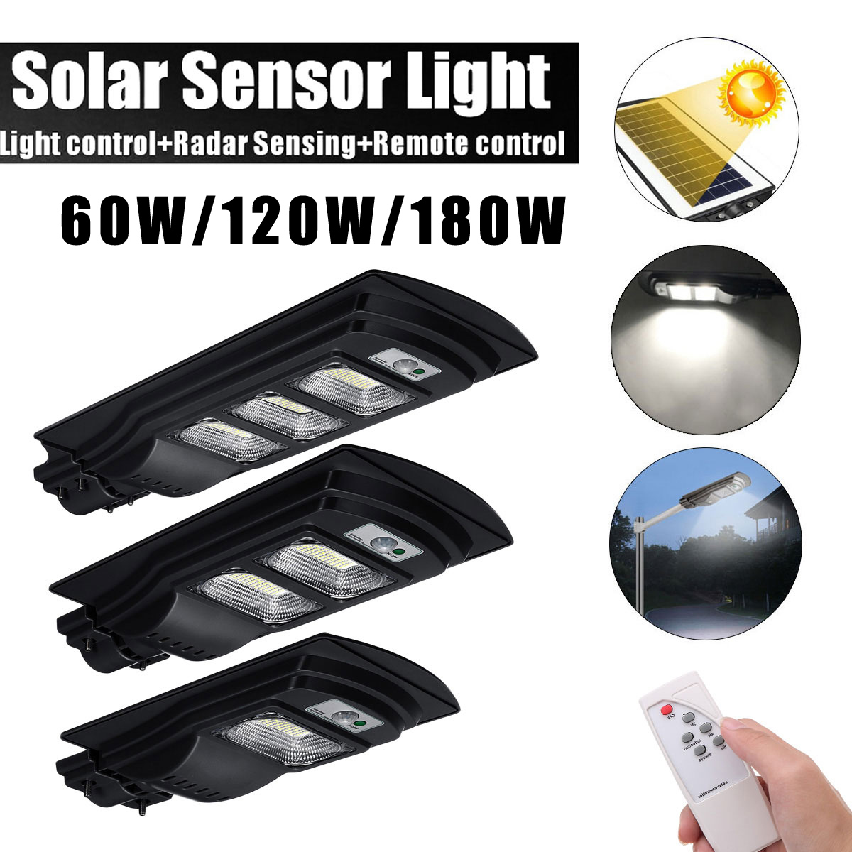 60W/120W/180W LED Solar Street Light Solar Light Radar PIR Motion Sensor Wall Timing Lamp+Remote Comtrol Waterproof For Plaza