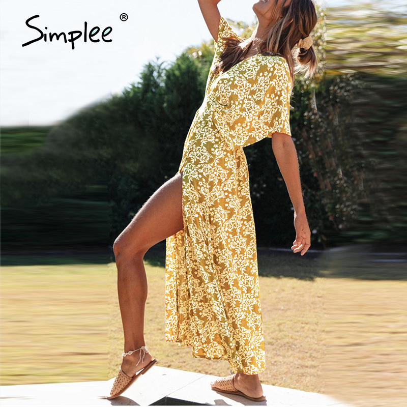 Simplee Sexy V-neck Summer Dress Women Floral Print Short Sleeve Party Beach Dress Boho Casual Holiday Loose Cotton Maxi Dress