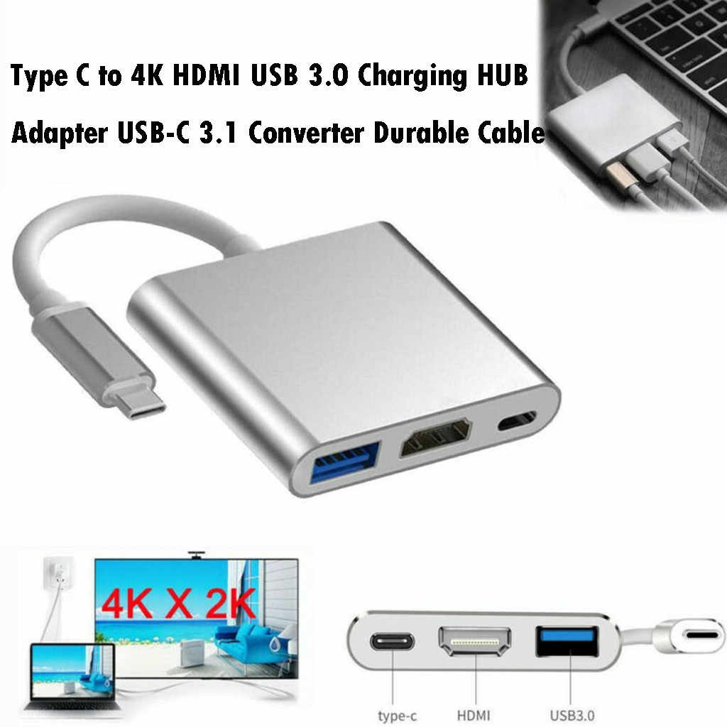best selling 2019 products Type C USB 3.1 to USB-C HDMI USB 3.0 Adapter 3in1 Hub For Laptop PC TV wearable devices dropshipping