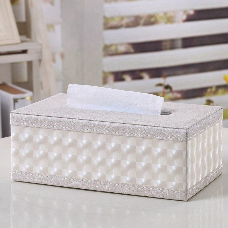 PU Leather Cosmetic Bag Box Handkerchief, 25x14x9.5cm (Beige)