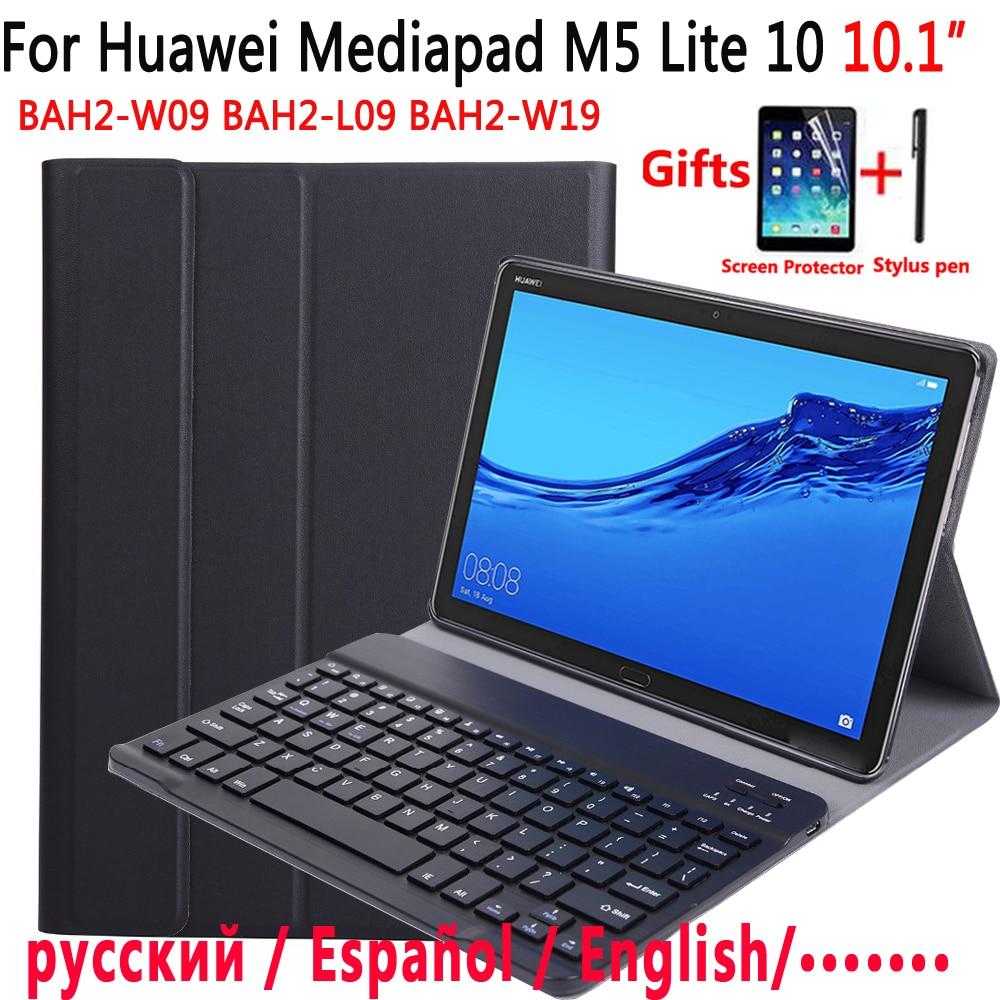 Bluetooth Keyboard Case For Huawei Mediapad M5 Lite 10 10.1 BAH2-W09 BAH2-L09 BAH2-W19 Case Keyboard For Huawei M5 10.1 Cover