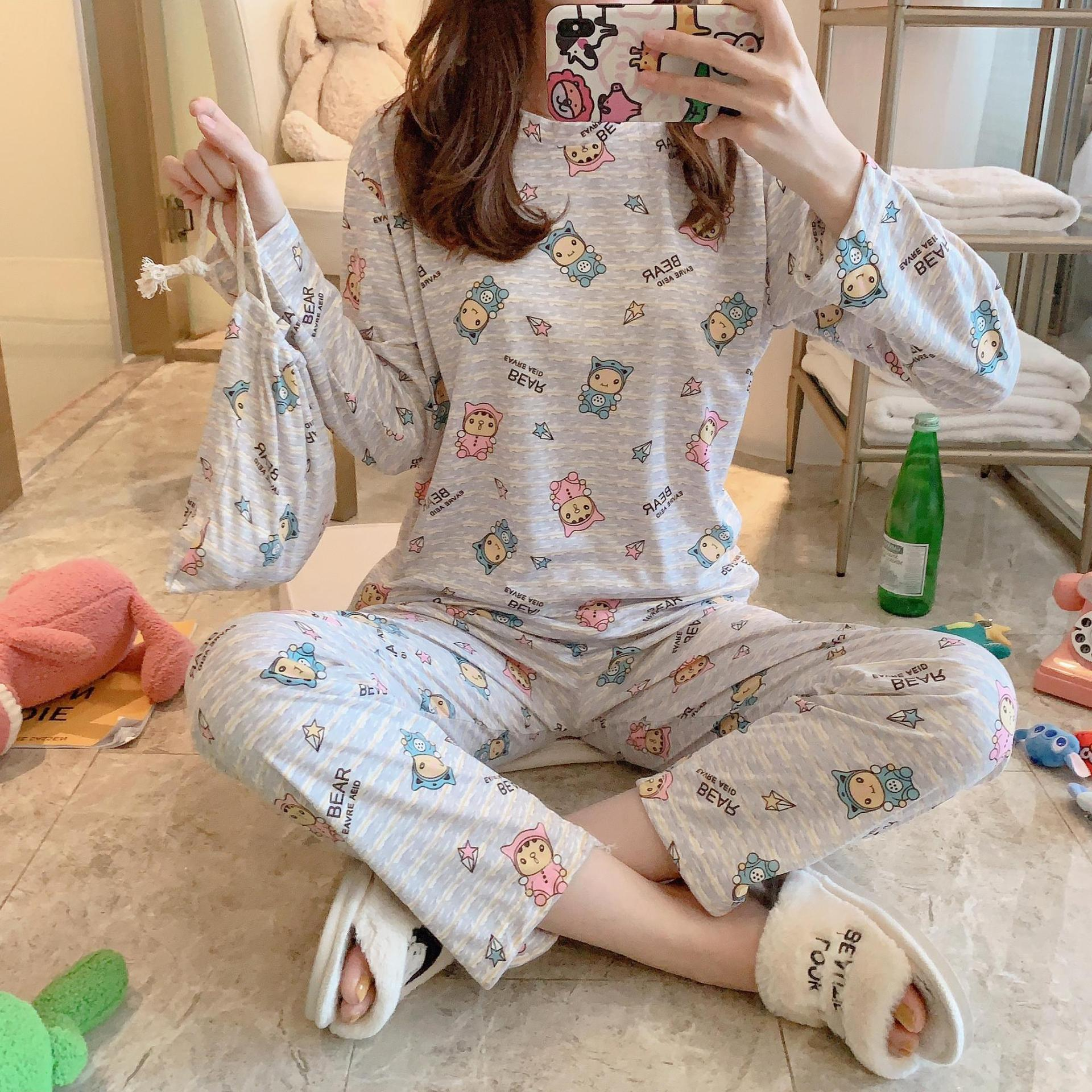 New Style Spring Autumn Winter Women's Cloth Bag Pajamas Double-Sided Milk Cotton Set Sweet Cartoon Tracksuit Long Sleeve