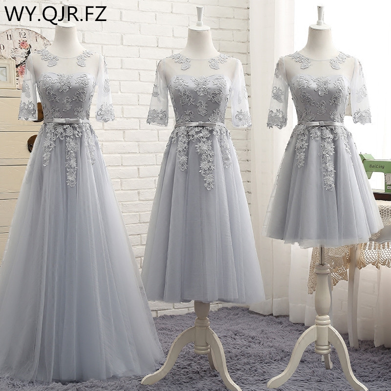 HJZY@YXG#lace Up Bridesmaid Dresses Long Wedding Prom Party Toast Dress Pink Gary White Ball Gown Cheap Wholesale Girl Sister