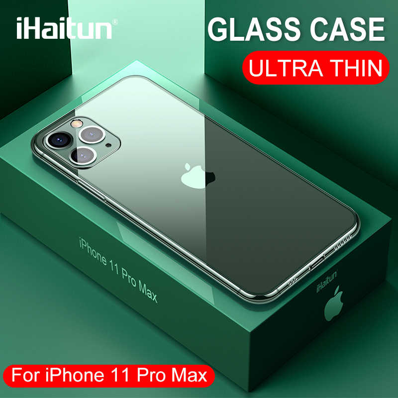 IHaitun Luxe Glas Case Voor iPhone 11 Pro Max Gevallen Ultra Dunne Transparante Glas Cover Voor iPhone XS MAX XR X 10 7 8 Zachte Rand 11 Pro Max 7 8 Plus