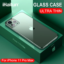 Ihaitun Luxe Glas Case Voor Iphone 11 Pro Max Gevallen Glas Ultra Dunne Cover Voor Iphone Xs Max Xr X 10 7 8 Transparante Zachte Rand(China)