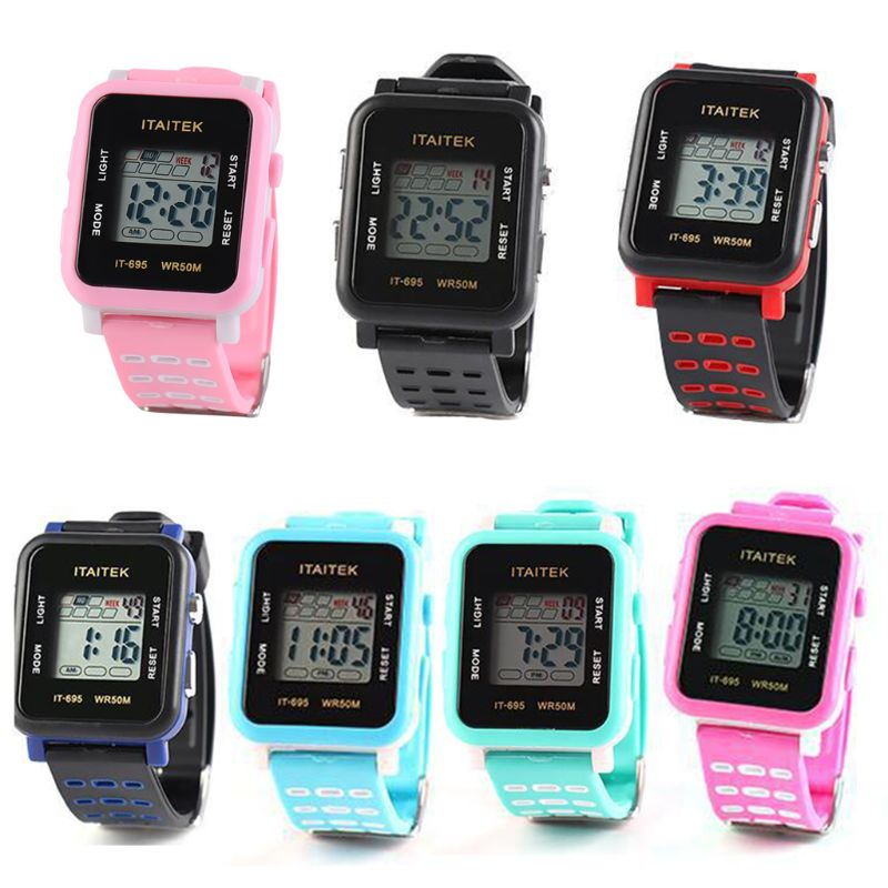 New Children Boys Girls Waterproof Electronic Watch Student Multi-function Sports Watches T4MD