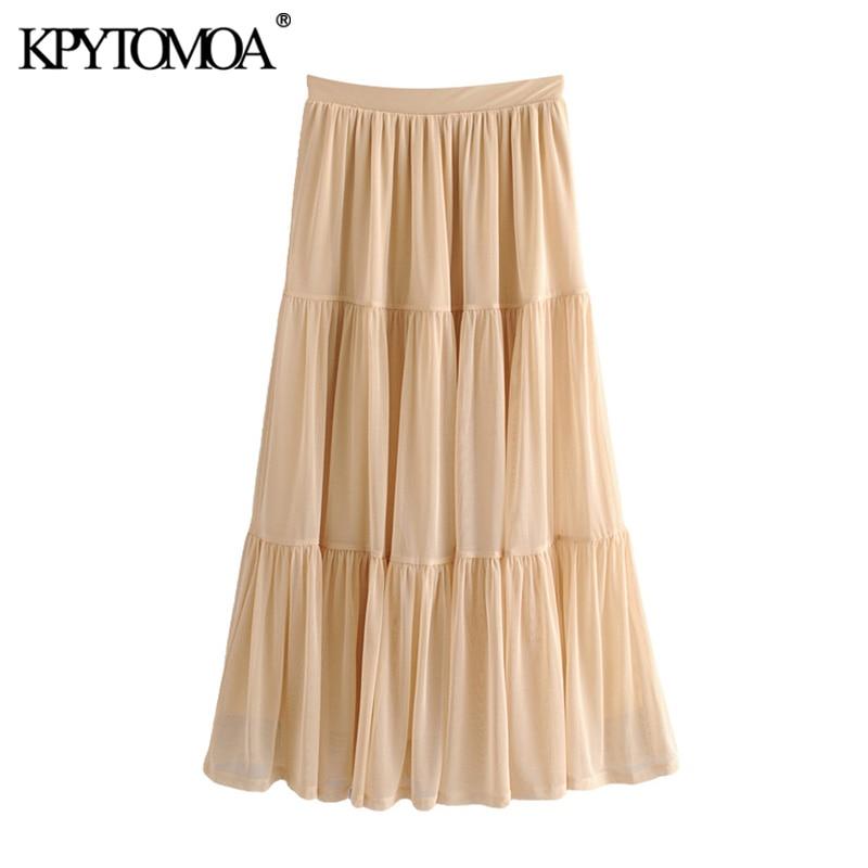 KPYTOMOA Women 2020 Chic Fashion Tulle Midi Skirt Vintage High Elastic Waist With Lining Female Skirt Casual Faldas Mujer