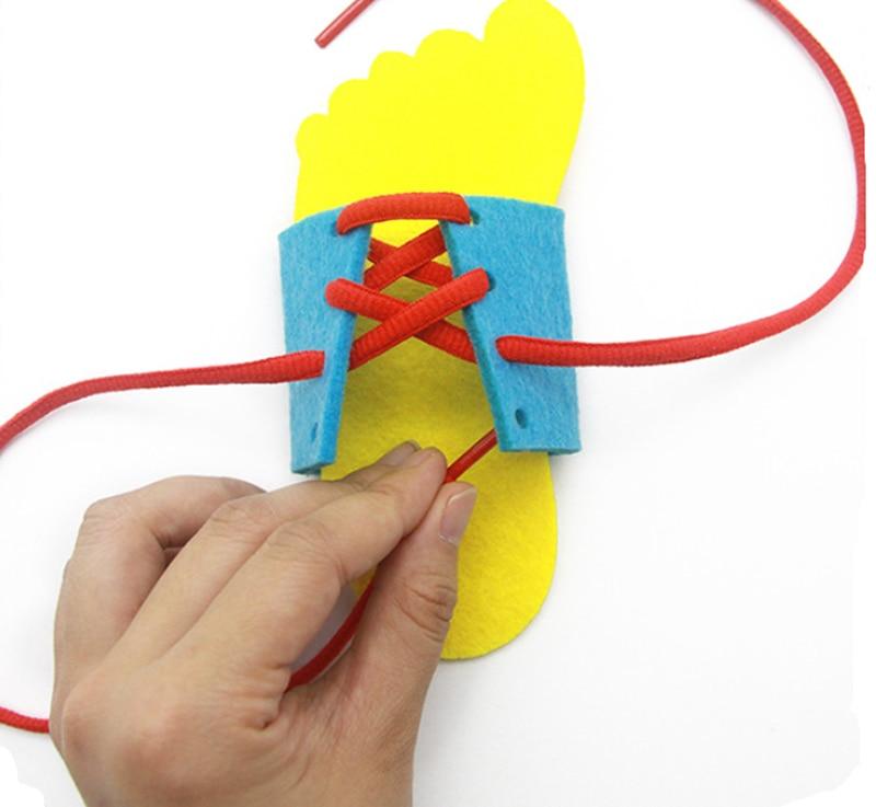 2020 جديد أطفال مونتيسوري ألعاب تعليمية الأطفال طفل الأحذية جلد لربط رباط الحذاء لعبة وسائل تعليمية في وقت مبكر