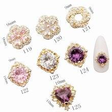 5 pçs/lote coreia luxo zircão prego deco peças 3d liga acessórios da arte do prego glitter strass charme jóias dicas do prego suprimentos