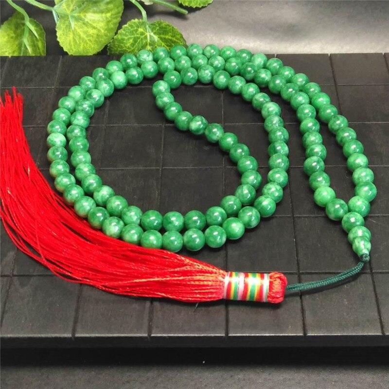 A173 Certified Grade A Genuine Natural Green Jade Jadeite Beaded Bangle Bracelet