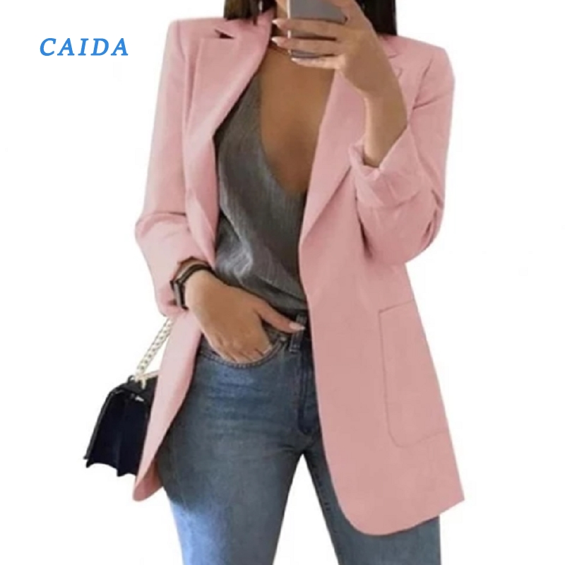CAIDA 2020 Women Elegant Slim Casual Solid Business Blazer Long Blazers Jacket Ladies Spring Autumn Suit