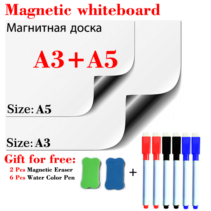 A3+A5 Magnets WhiteBoard Fridge Stickers For Kids Home Office School Message Dry Erase White Boards Memo Boards