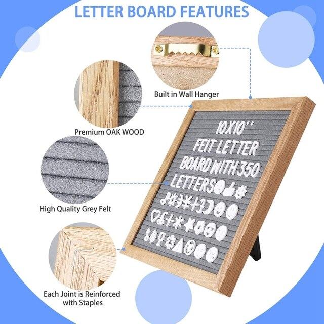 10x10 Inch Square Felt Letterboard Oak Wood Message Board 460 Plastic Letters Easel Drawstring Bag Felt Letter Board Home Decor