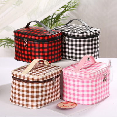 Lattice Zipper Travel Cosmetic Bag For Wash Make Up Box Portable Women Makeup Bag Organizer For Handbag Beauty Toiletry Kit Case