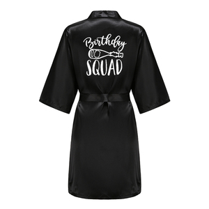 Платье для вечеринки на день рождения, королевские и отряд, атласные пижамы, халат для женщин, черно-белое кимоно для письма, подарок