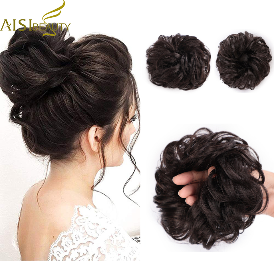 AISI BEAUTY Synthetic Bun Extensions Curly Messy Bun Hair Scrunchies Elegant Chignons Wedding Hair Piece For Women And Kids