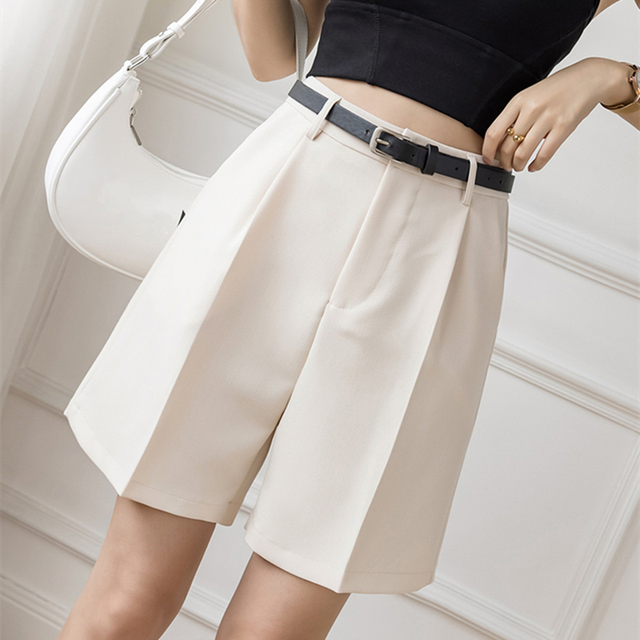Seoulish 2021 New Summer Women's Shorts with Belted Solid High Waist Office Wide Leg Shorts Elegant Purple Loose Trousers Pocket 5