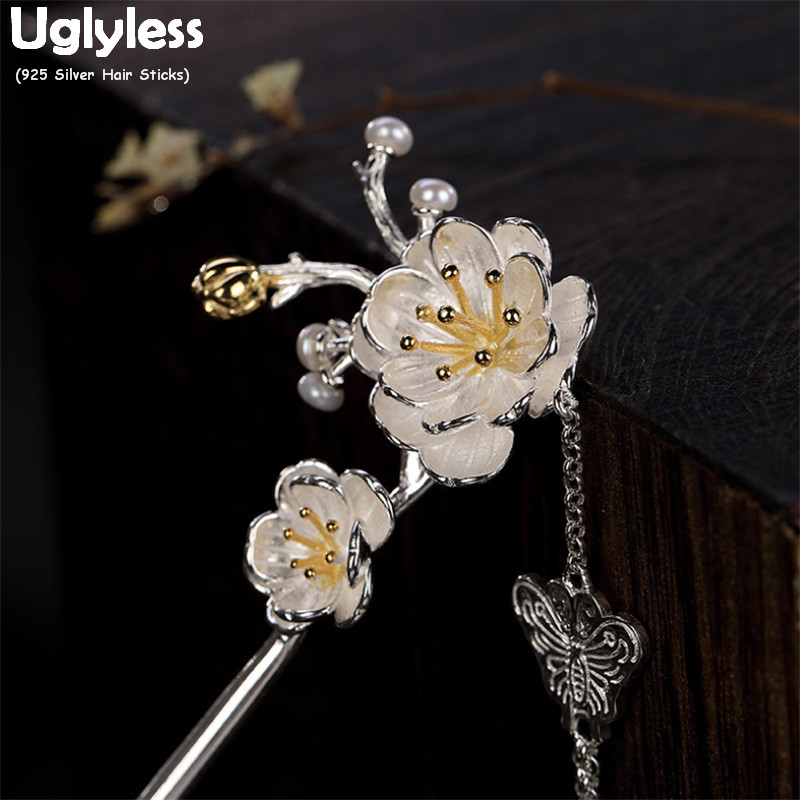 Uglyless Handmade Flowers Hair Sticks For Women Real 925 Silver Butterfly Leaves Tassels Hair Forks Ethnic Floral Hair Jewelry