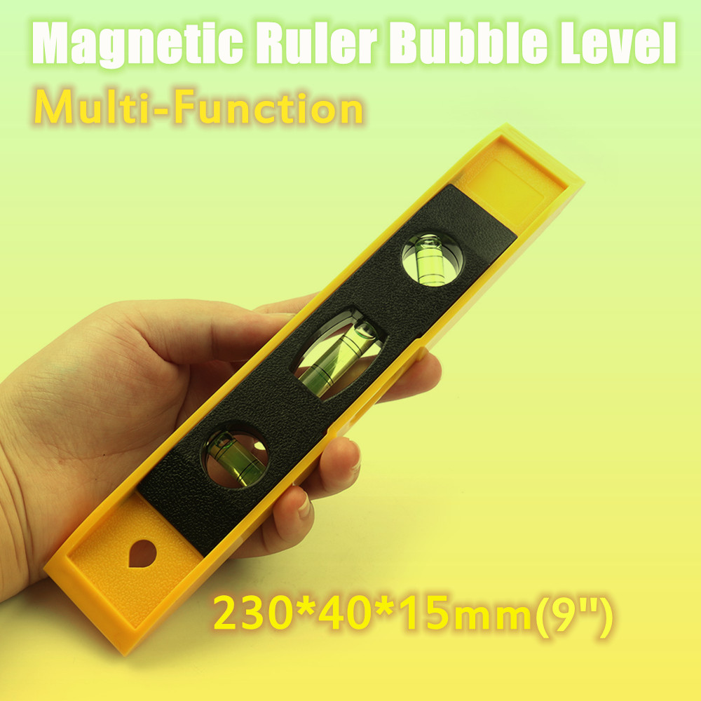 Hot 9'' Spirit Level Bubble Ruler Magnetic ABS Shell Vertical Horizontal 45 Degree Bubble Level Measuring Instrument Tool-in Level Measuring Instruments from Tools
