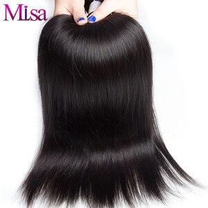 Image 3 - Mi ליזה 3 חבילות עם פרונטאלית מלזי ישר שיער Weave רמי שיער טבעי צרור ו 13x4 תחרה פרונטאלית סגירה עם חבילות