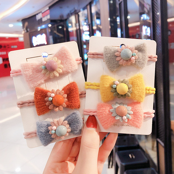 Winter Children Cute Candy Pearl Flower Nylon Bow Elastic Hair Bands Girls Sweet Scrunchies Rubber Bands Kids Hair Accessories 1 pcs new simple hair scrunchies flower beads double line elastic hair bands candy color lovely hair rope hair accessories girls