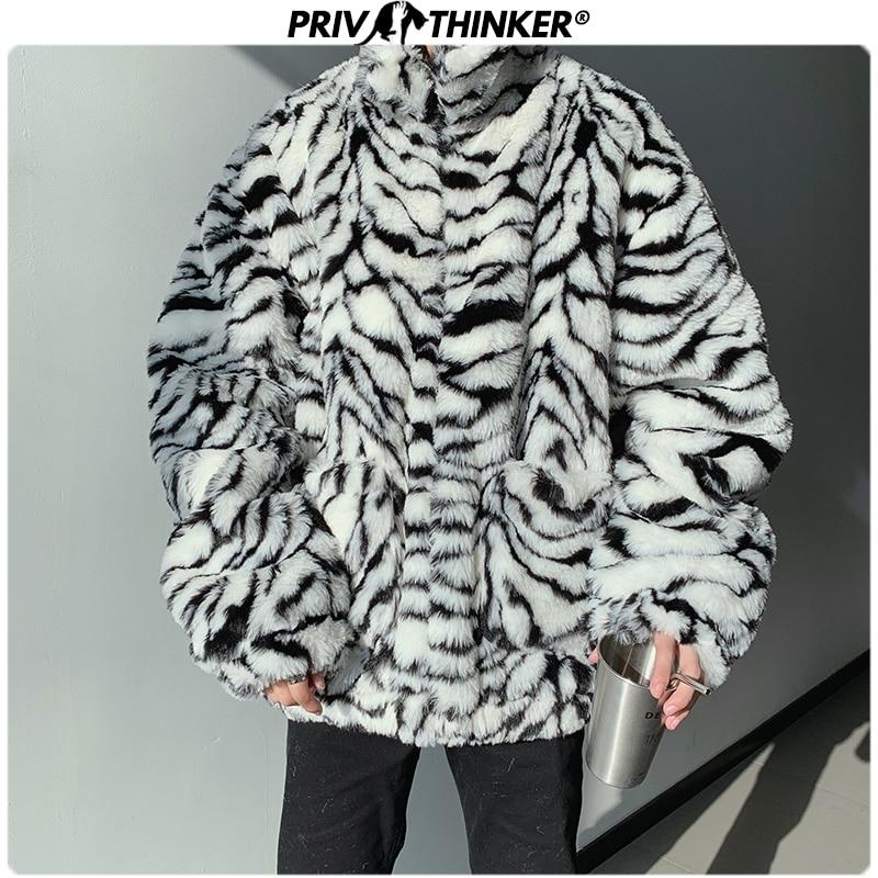 Privathinker 2019 Winter Men Faux Fur Zebra Pattern Parka Jacket Male Fashion Loose Warm Coat Male Streetwear Thicken Oversize