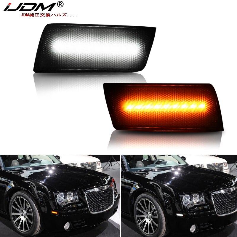 IJDM Amber/white LED Front Side Marker Light For 2005-2010 Chrysler 300 Turn Signals/Driving Lights,Replace OEM Sidemarker Lamps