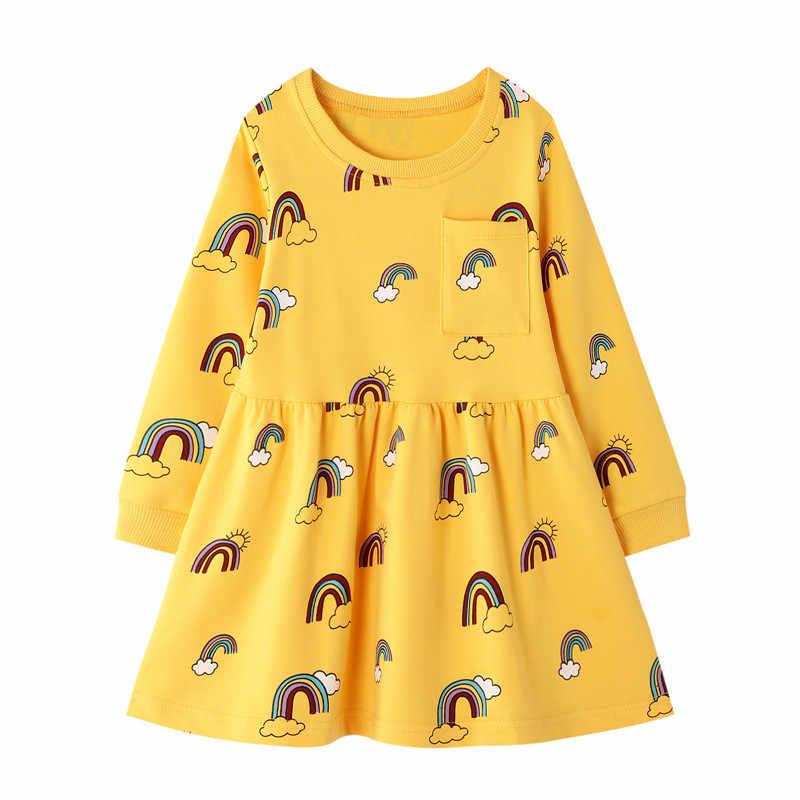 Jumping meter/Новые платья Одежда для девочек рождественские платья принцессы с длинными рукавами модный костюм с вышитыми цветами платья для малышей