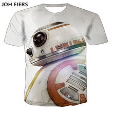 JOH FIERS 2019 New summer Spring Cool T-shirt Mans Womans 3d Tshirt Print Space robot Sleeve Tops Tees T shirt Fashion