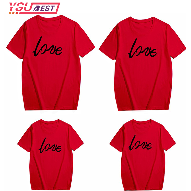 Love Family Matching Clothes Red Cotton Family Look Mommy and Me Clothes Outfits Summer Tops Kids Boys Father T-shirt Clothing