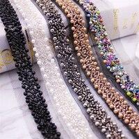 1 yardas/lote cinta de encaje con cuentas cinta de encaje tejido Trim Collar bordado decoración africana de encaje de algodón de tela de red de cable para coser