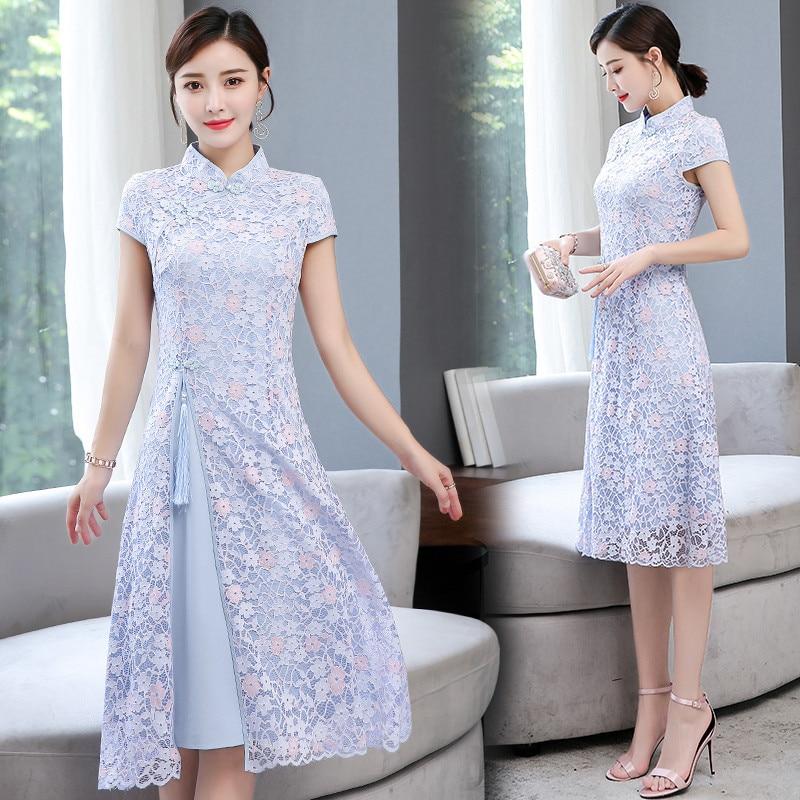 Long Lace Cheongsam 2019 Summer New Style Elegant Elegant Daily Life Vintage Improved Dress Women's