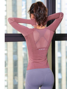 Fitness Women T-Shirt Jersey Tight Workout-Tops Sports-Wear Long-Sleeve gym Knitting