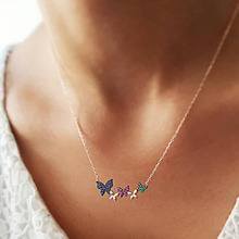 Sweet Crystal Butterfly Choker Necklace Rhinestone Bowknot Female Pendant Women Collar Sweater Chain Shiny Jewelry