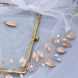 Image 3 - TOPQUEEN HP110, diadema nupcial hecha a mano, tocados de boda, joyería de flores para el cabello, accesorios para el cabello con cuentas de hojas doradas y diamantes